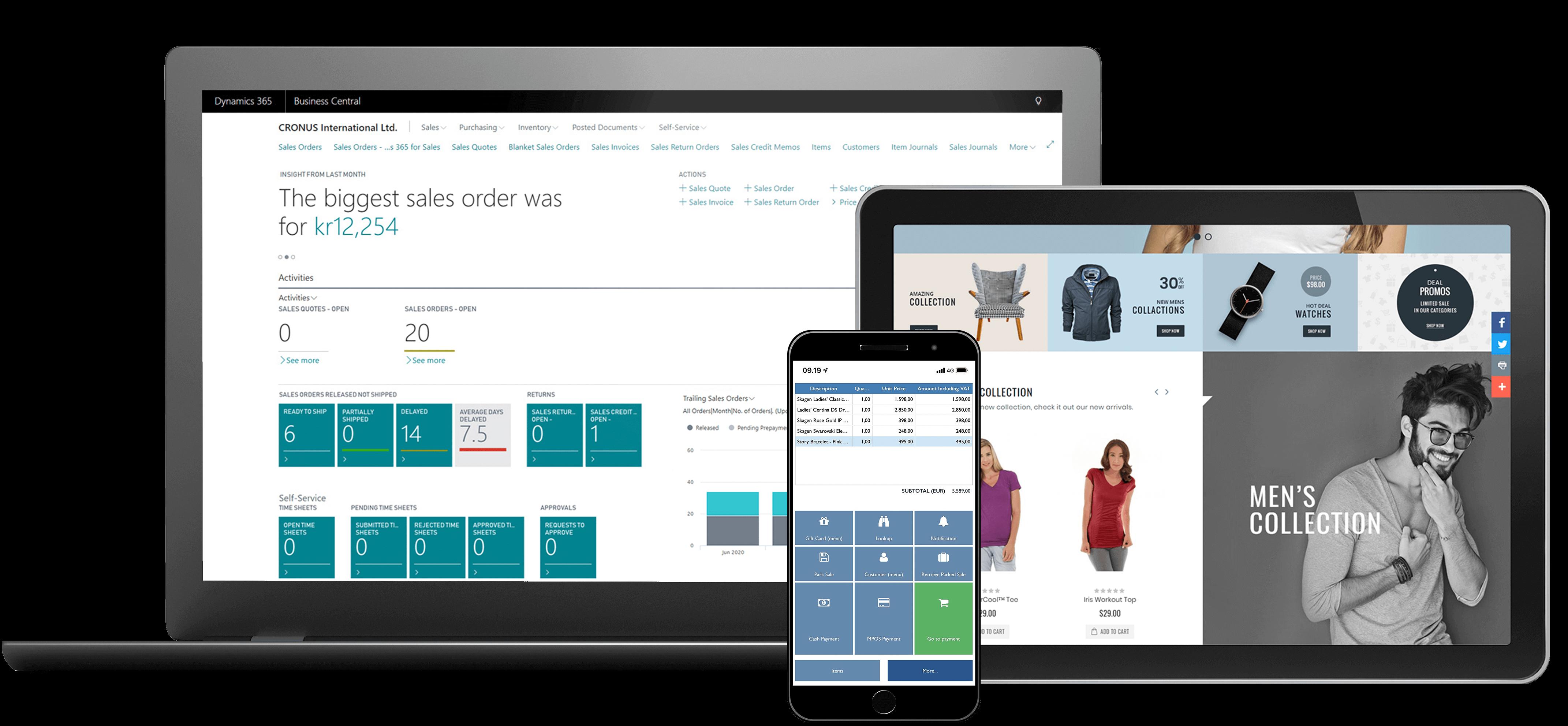 BC, Magento og mPOS illustrereet på computerskærm, tablet og mobil