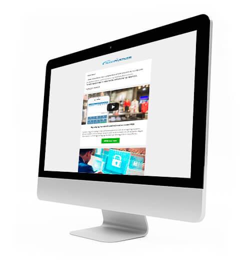 Computer med Navipartners nyhedsbrev