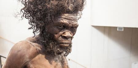 Skulptur af forhistorisk menneske fra Reference Moesgaard Museum