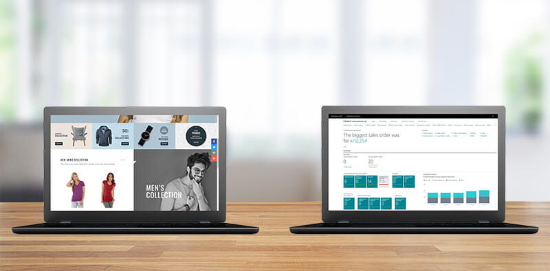 Magento webshop og Business Central placeret på to computerskærme