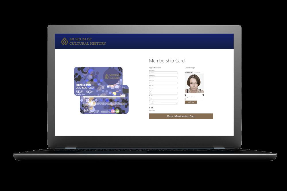 Computerskærm som viser hvad man skal udfylde for at bestille et medlemskort