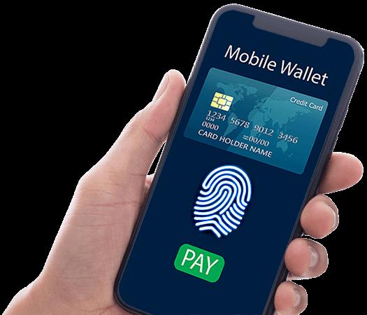 Hånd der holder en iPhone med Mobile Wallet