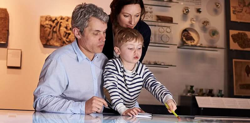 Familie besøger museum og anvender deres omnichannel billet system