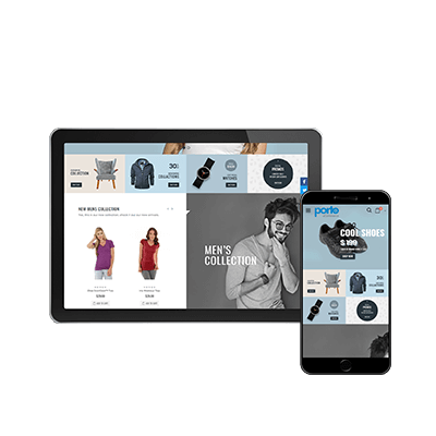 Tablet og mobil som er inde på en webshop