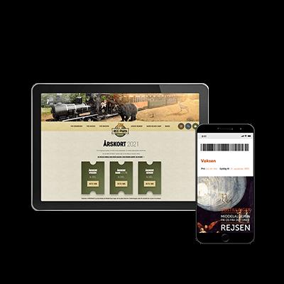 Tablet med billede af Ree Parks hjemmeside og mobil med online billet til Moesgaard Museum