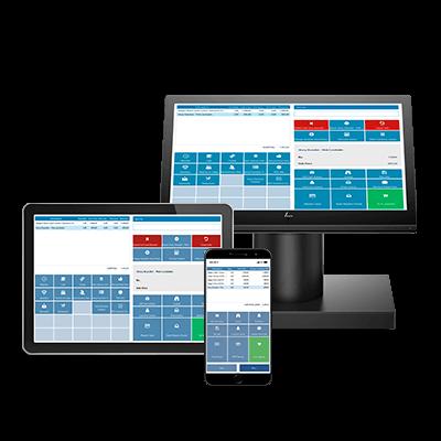 NaviPartners POS kassesystem illustreret på computerskærm, tablet og mobil