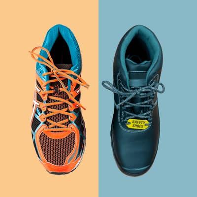 En orange sko og en blå sko