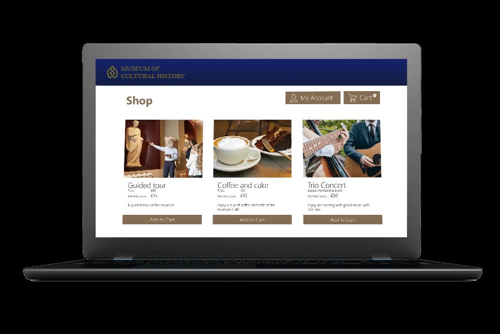 Computerskærm som viser Museum of Cultural History's webshop