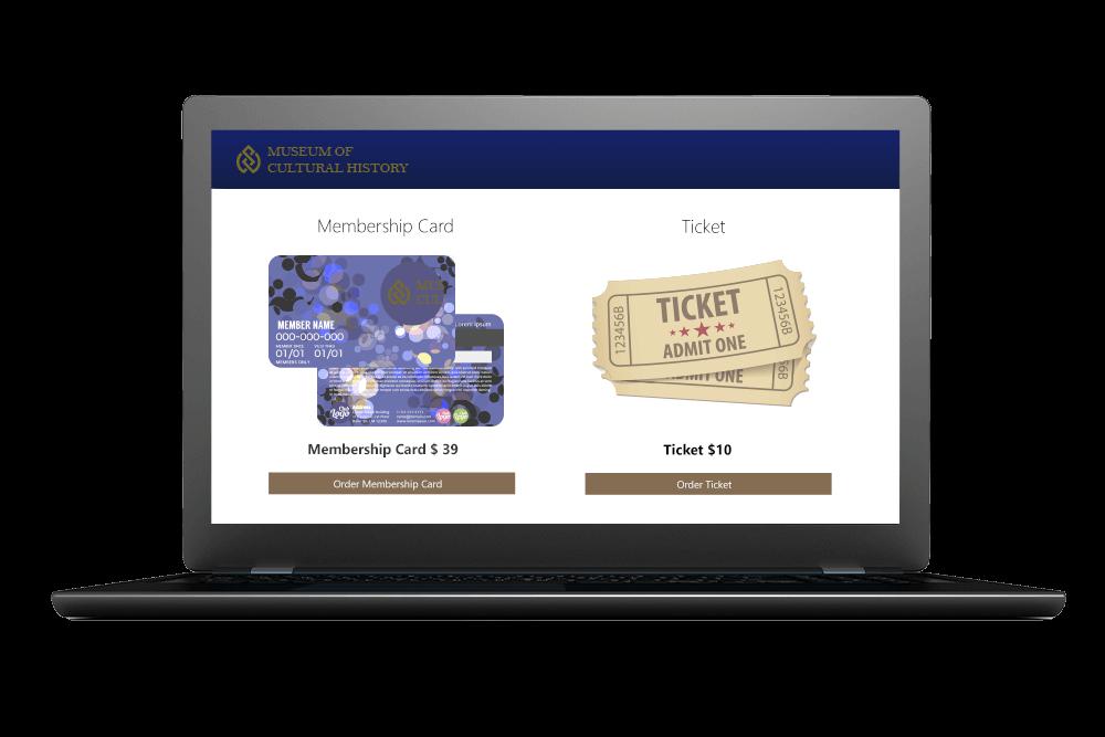 Computerskærm med billeder af medlemskort og enkeltbillet