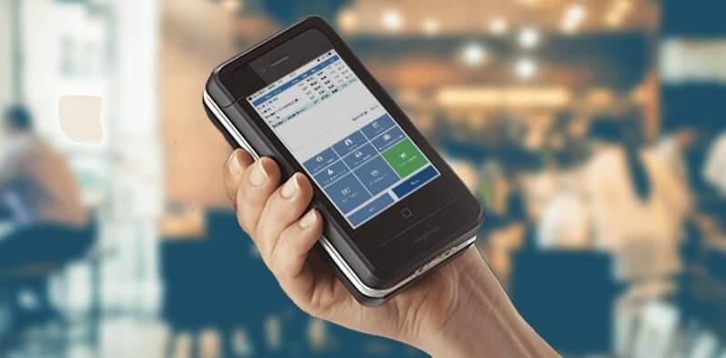 mPOS Restaurant scanner med grøn knap pos-system