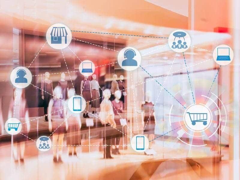 Diagram over hvilke tjenester og produkter der kommunikerer med hinanden
