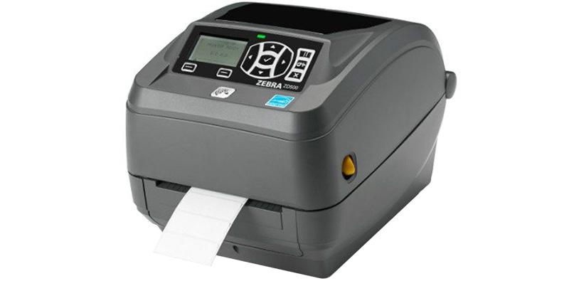 Grå ZD500R RFID Printer med papir i og på hvid baggrund