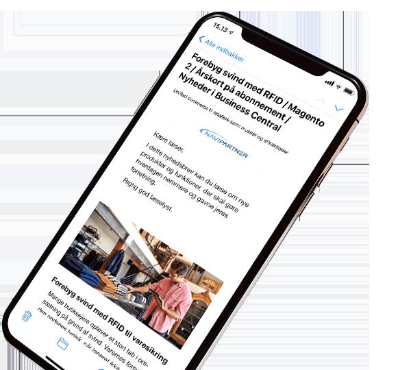 NaviPartner nyhedsbrev vist på iphone x
